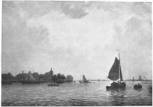 Gezicht op de Maas bij Dordrecht
