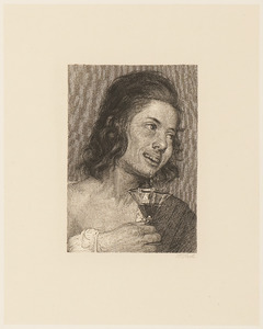Portret van een jongen met een wijnglas
