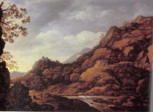 Berglandschap met houthakkers bij een rivier