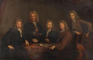 Groepsportret van de vijf overlieden van het Chirurgijnsgilde te Amsterdam, 1716