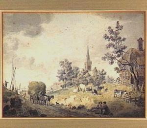 Landschap met hooiwagen, kerk, vee en figuren