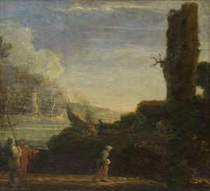 Kustgezicht met wandelaars nabij een ruïne