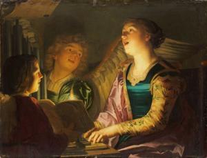 De heilige Cecilia aan het orgel met twee engelen