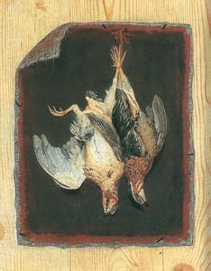 Trompe l'oeil stilleven van ongespannen doek met hangend gevogelte op een houten paneel gespijkerd