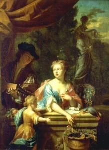 Luitspelende man met vrouw met kind bij een balustrade