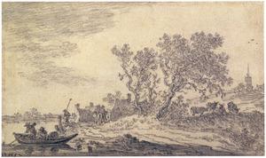 Landschap met bebouwing en rivier