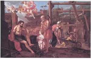 Ongeïdentificeerde mythologische voorstelling met Vulcanus in zijn werkplaats