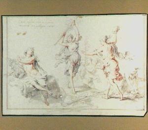 Orpheus aangevallen door de razende menaden van Ciconia in Thracië  (Metamorfosen 11:1-43)