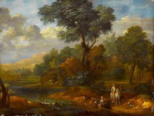 Bebost heuvelachtig landschap met een ruiter en figuren bij een beek