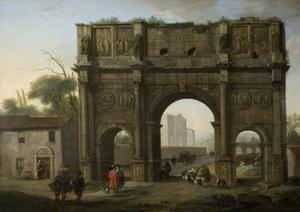 De boog van Constantijn in Rome