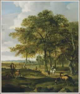 Boslandschap met jagers en hun honden