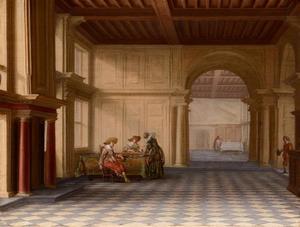 Zaal van een paleis met aan een tafel triktrakspelende figuren