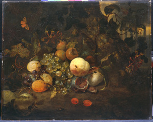 Stilleven van vruchten op een bosgrond