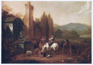 Zuidelijk landschap met ruiters en jagers bij een fontein