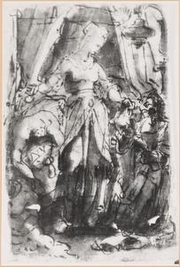 Judith legt het hoofd van Holofernes in een zak die haar dienares ophoudt (Judith 8-16)