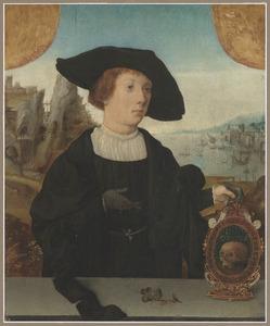 Portret van een jongen met een vanitasembleem