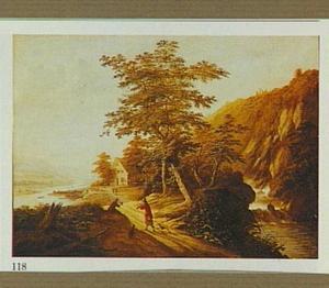 Landschap met rotswand en enkele jagers op een pad