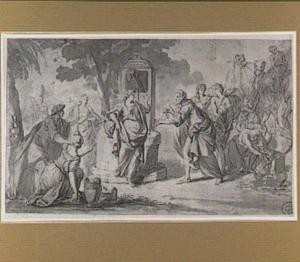 Rebekka bij de put ontvangt de sieraden van Eliëzer (Genesis 24:22)