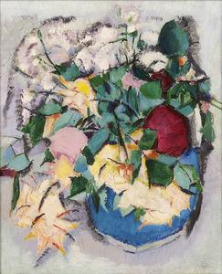 Bloemen in een blauwe pot