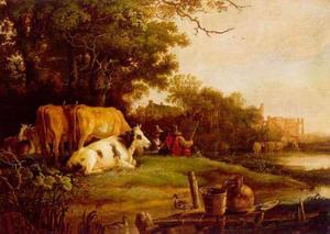 Landschap met vee op een weide aan het water, in de verte een ruïne (Rijnsburg?)