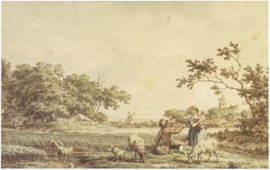 Landschap met herder, vrouw en kind en schapen bij een dorp