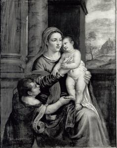 Maria met Christuskind en kind Johannes de Doper naast zich