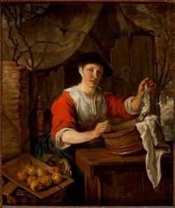 Vrouw die vis en fruit verkoopt