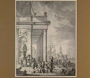 Mediterrane haven met kooplui en galante figuren voor een portico