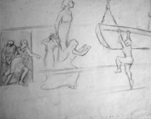 Figuren aan bord van een schip
