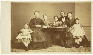 Portret van Hendrik Cornelis de Heer (1834-1870) en zijn familie