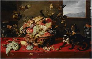 Vruchtenstilleven met aap en vogels