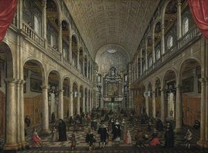 Interieur van de Jezuitenkerk (vóór de brand van 1718) in Antwerpen