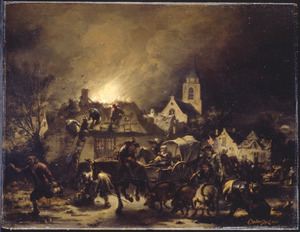 Nachtelijke brand en plundering in een dorp