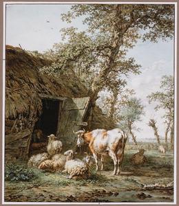 Koe en schapen bij een vervallen schuur met slapende herder