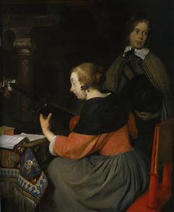 Interieur met een luitspelende vrouw en een jongen