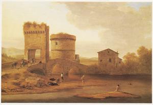 Zuidelijk landschap met baders bij de Ponte Lucano en het graf der Plautii