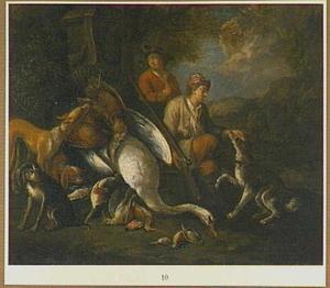 Landschap met twee jagers en jachtbuit van gevogelte