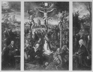 De H. Paulus met Paul Robyns (links), de kruisiging (midden), de H. Cornelius met Cornélie Losschaert (rechts)