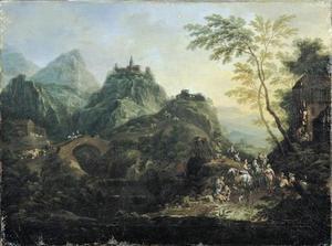 Berglandschap met stenen brug