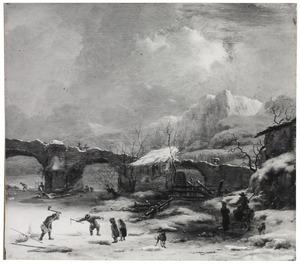 Winters berglandschap met vissers bij een brug