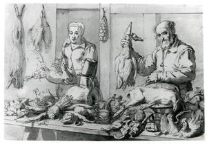 Marktstuk met koopvrouw en -man met wild, gevogelte en groente