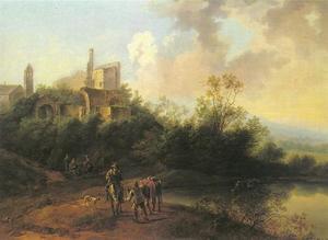 Landschap met reizigers rustend voor de ruïne van een abdij
