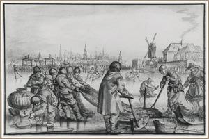 Winterlandschap met vissers bij een wak, op de achtergrond Amsterdam
