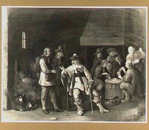 Soldaten en kaartspelers in een wachtlokaal