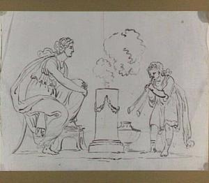 Offerscène met zittende vrouw en man die blaasinstrument (aulos?) speelt