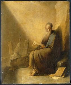 De H. Paulus lezend en schrijvend in de gevangenis te Rome