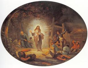 Christus maakt zich in de Hof van Olijven bekend aan de soldaten: zij storten ter aarde