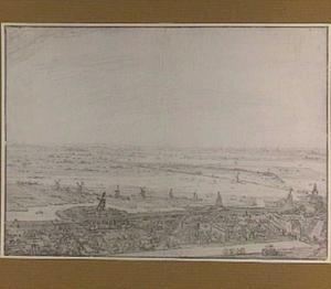 Landschap ten noordwesten van  Amsterdam gezien vanaf de toren van de Westerkerk