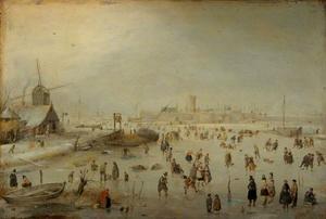 Winterlandschap; op de achtergrond een ommuurde stad