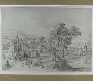 Heuvelachtig landschap met kasteel, kerken en andere gebouwen, op de achtergrond een meer